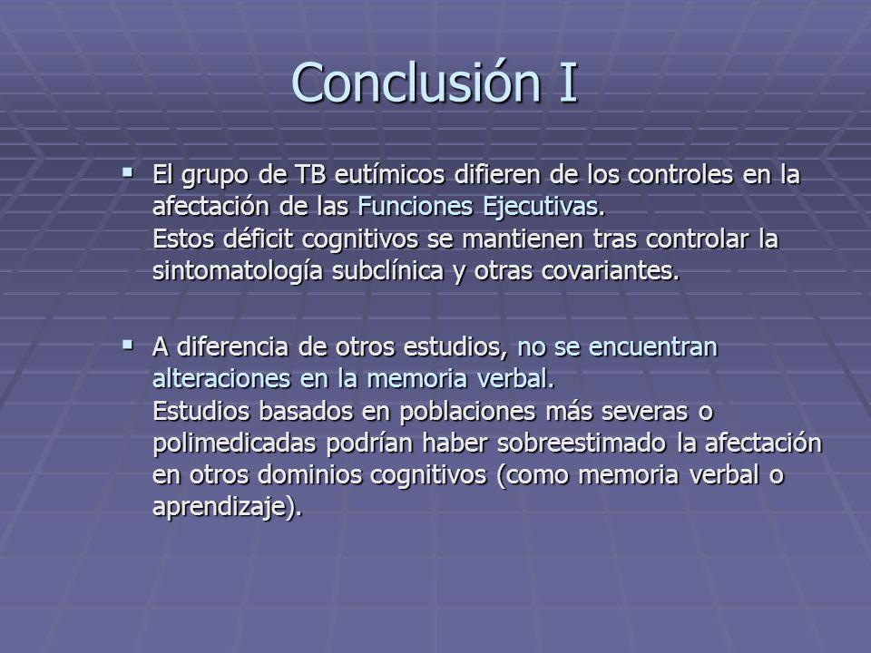 Conclusión I El grupo de TB eutímicos difieren de los controles en la afectación de las Funciones Ejecutivas. Estos déficit cognitivos se mantienen tr