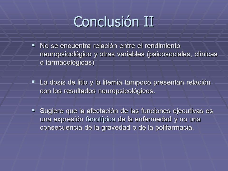 Conclusión II No se encuentra relación entre el rendimiento neuropsicológico y otras variables (psicosociales, clínicas o farmacológicas) No se encuentra relación entre el rendimiento neuropsicológico y otras variables (psicosociales, clínicas o farmacológicas) La dosis de litio y la litemia tampoco presentan relación con los resultados neuropsicológicos.