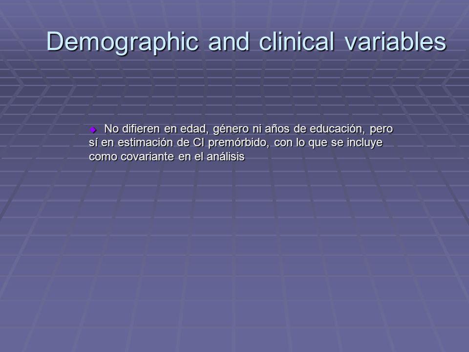 Demographic and clinical variables No difieren en edad, género ni años de educación, pero sí en estimación de CI premórbido, con lo que se incluye como covariante en el análisis No difieren en edad, género ni años de educación, pero sí en estimación de CI premórbido, con lo que se incluye como covariante en el análisis