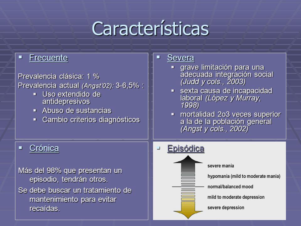 Características Frecuente Frecuente Prevalencia clásica: 1 % Prevalencia actual (Angst02): 3-6,5% : Uso extendido de antidepresivos Uso extendido de antidepresivos Abuso de sustancias Abuso de sustancias Cambio criterios diagnósticos Cambio criterios diagnósticos Severa Severa grave limitación para una adecuada integración social (Judd y cols., 2003) sexta causa de incapacidad laboral (López y Murray, 1998) mortalidad 2o3 veces superior a la de la población general (Angst y cols., 2002) Crónica Crónica Más del 98% que presentan un episodio, tendrán otros.