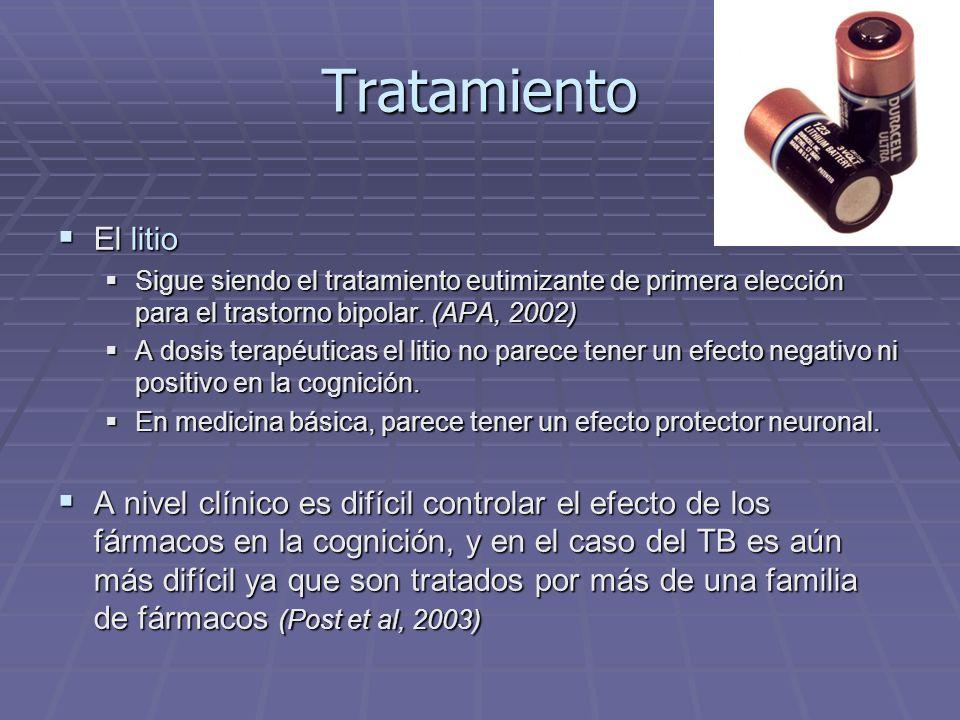 Tratamiento El litio El litio Sigue siendo el tratamiento eutimizante de primera elección para el trastorno bipolar. (APA, 2002) Sigue siendo el trata