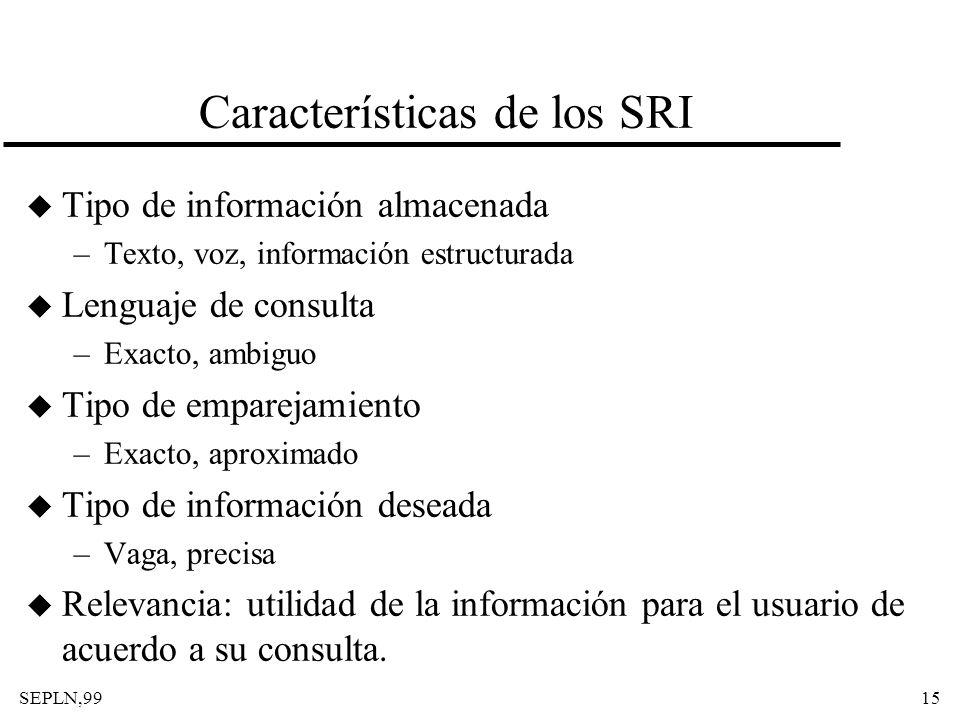SEPLN,9915 Características de los SRI u Tipo de información almacenada –Texto, voz, información estructurada u Lenguaje de consulta –Exacto, ambiguo u