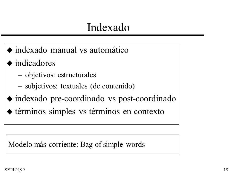 SEPLN,9919 Indexado u indexado manual vs automático u indicadores –objetivos: estructurales –subjetivos: textuales (de contenido) u indexado pre-coord