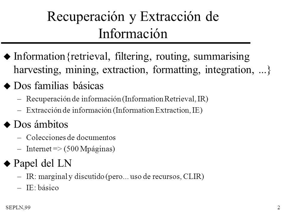 SEPLN,992 Recuperación y Extracción de Información u Information{retrieval, filtering, routing, summarising harvesting, mining, extraction, formatting
