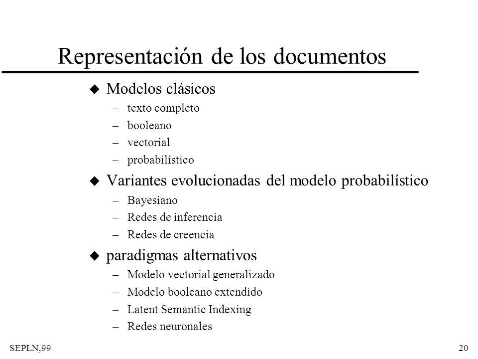 SEPLN,9920 Representación de los documentos u Modelos clásicos –texto completo –booleano –vectorial –probabilístico u Variantes evolucionadas del mode