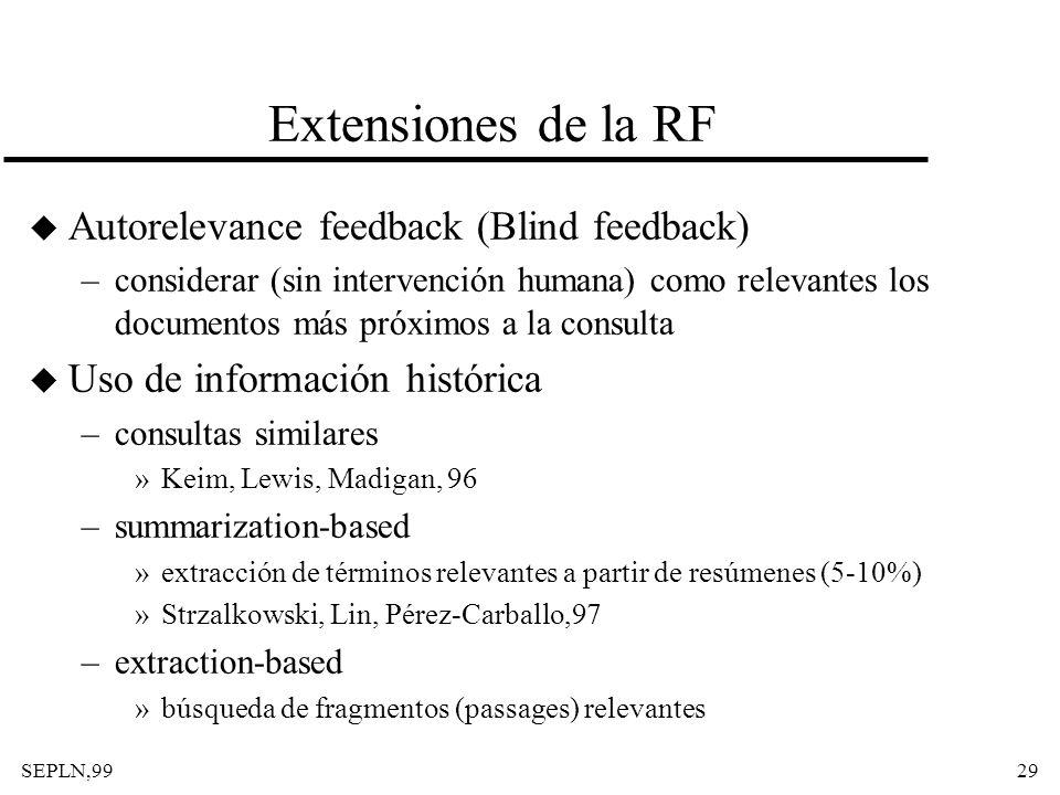 SEPLN,9929 Extensiones de la RF u Autorelevance feedback (Blind feedback) –considerar (sin intervención humana) como relevantes los documentos más pró
