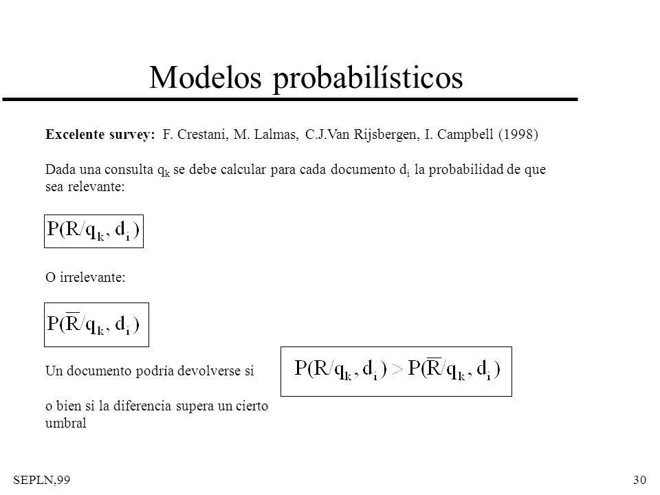 SEPLN,9930 Modelos probabilísticos Excelente survey: F. Crestani, M. Lalmas, C.J.Van Rijsbergen, I. Campbell (1998) Dada una consulta q k se debe calc
