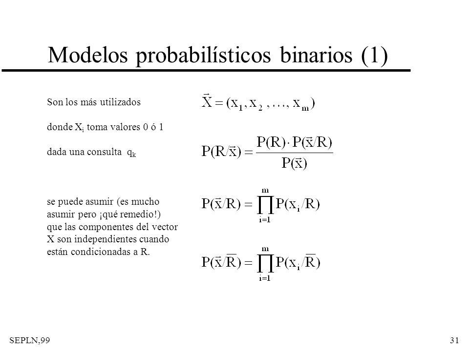 SEPLN,9931 Modelos probabilísticos binarios (1) Son los más utilizados donde X i toma valores 0 ó 1 dada una consulta q k se puede asumir (es mucho as