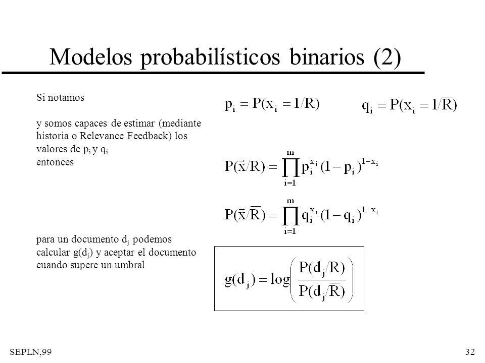SEPLN,9932 Modelos probabilísticos binarios (2) Si notamos y somos capaces de estimar (mediante historia o Relevance Feedback) los valores de p i y q