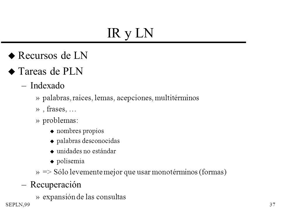 SEPLN,9937 IR y LN u Recursos de LN u Tareas de PLN –Indexado »palabras, raices, lemas, acepciones, multitérminos », frases, … »problemas: u nombres p