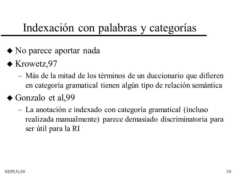 SEPLN,9939 Indexación con palabras y categorías u No parece aportar nada u Krowetz,97 –Más de la mitad de los términos de un duccionario que difieren