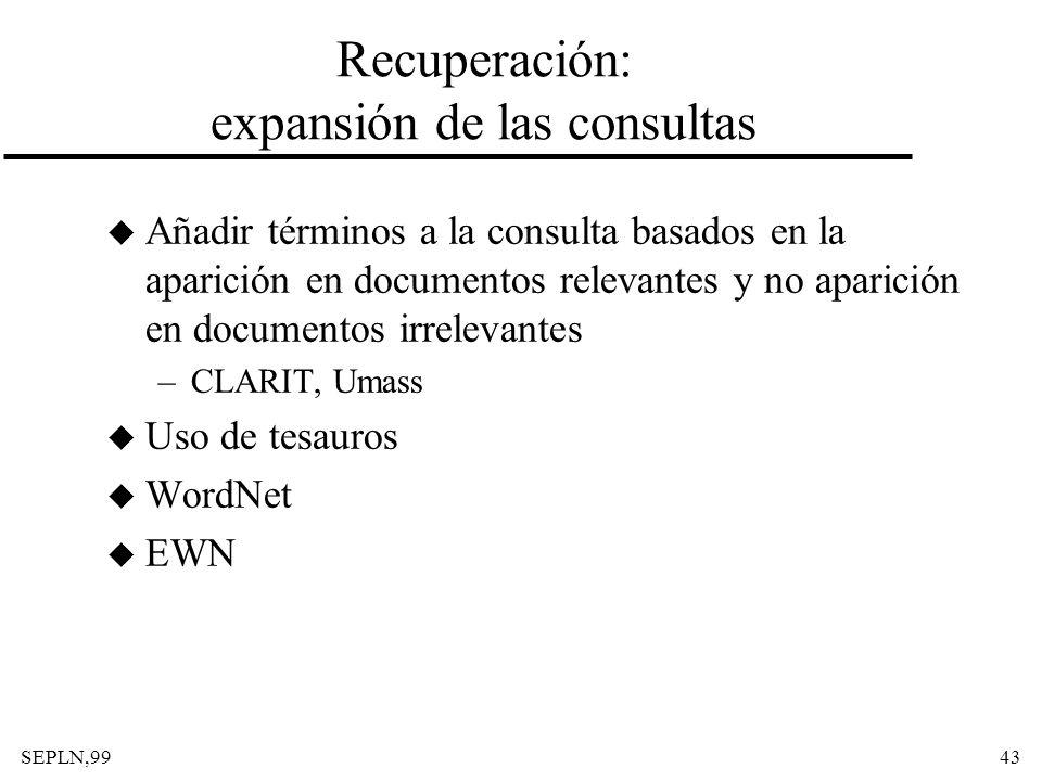 SEPLN,9943 Recuperación: expansión de las consultas u Añadir términos a la consulta basados en la aparición en documentos relevantes y no aparición en