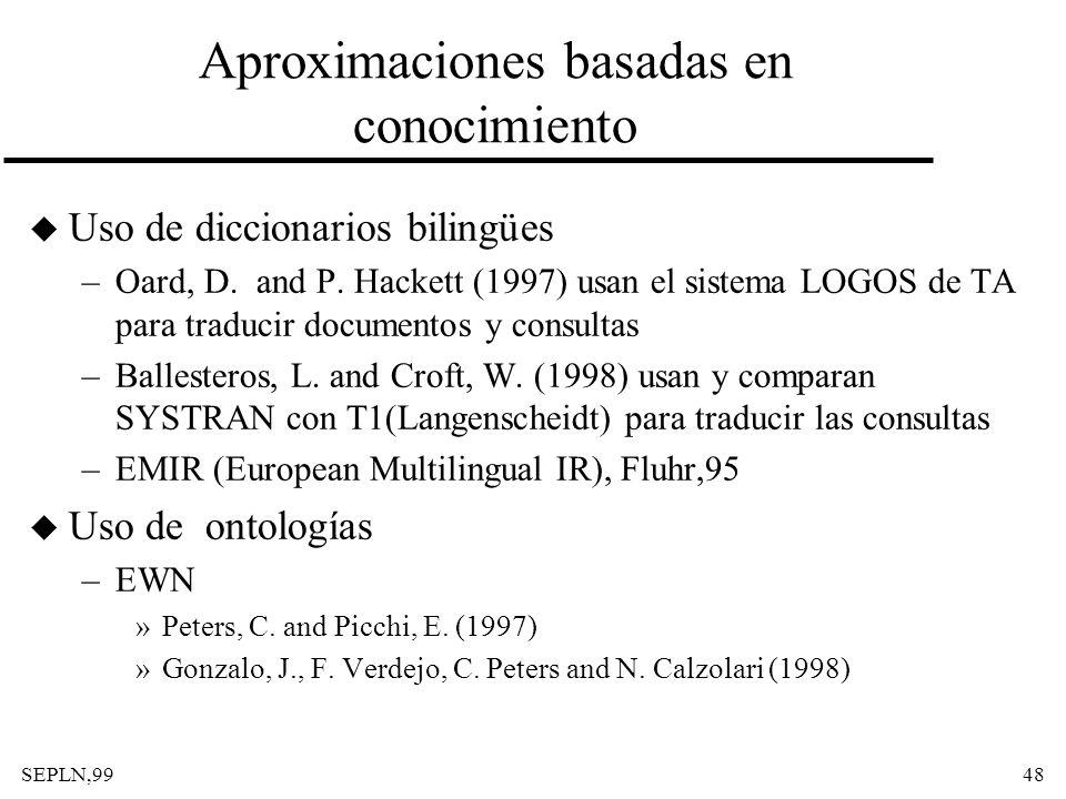 SEPLN,9948 Aproximaciones basadas en conocimiento u Uso de diccionarios bilingües –Oard, D. and P. Hackett (1997) usan el sistema LOGOS de TA para tra