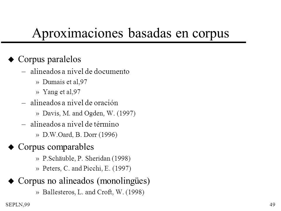SEPLN,9949 Aproximaciones basadas en corpus u Corpus paralelos –alineados a nivel de documento »Dumais et al,97 »Yang et al,97 –alineados a nivel de o