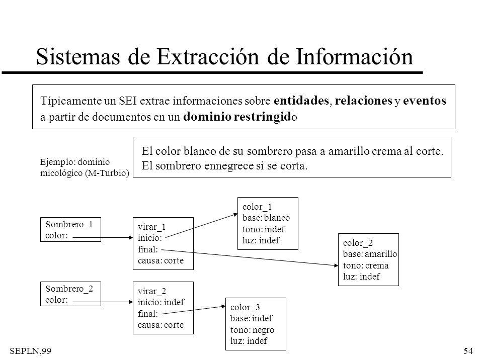 SEPLN,9954 Sistemas de Extracción de Información Típicamente un SEI extrae informaciones sobre entidades, relaciones y eventos a partir de documentos