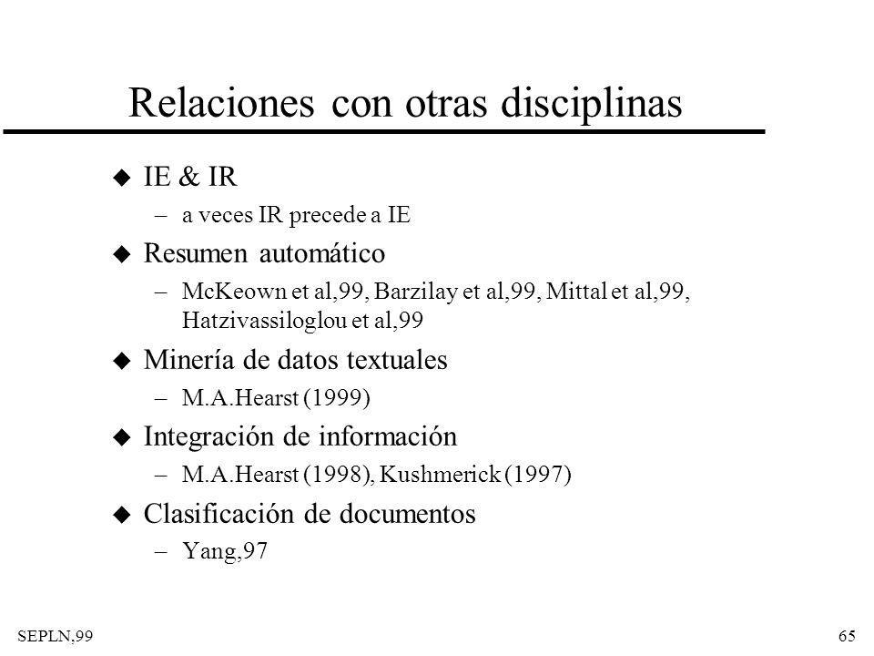 SEPLN,9965 Relaciones con otras disciplinas u IE & IR –a veces IR precede a IE u Resumen automático –McKeown et al,99, Barzilay et al,99, Mittal et al