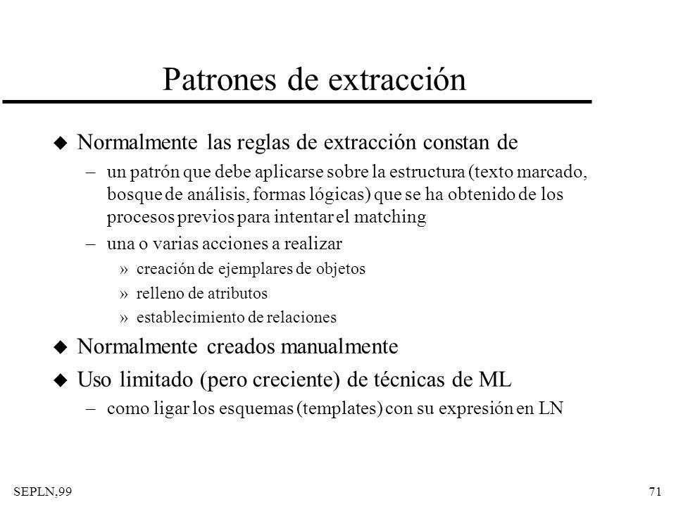 SEPLN,9971 Patrones de extracción u Normalmente las reglas de extracción constan de –un patrón que debe aplicarse sobre la estructura (texto marcado,
