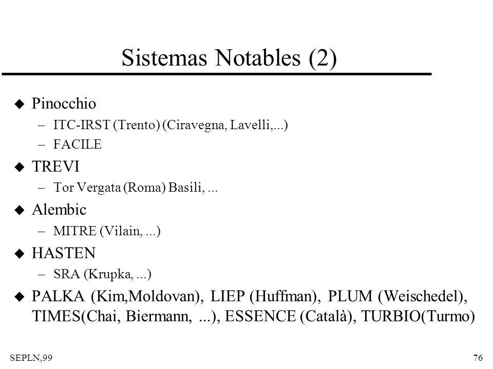 SEPLN,9976 Sistemas Notables (2) u Pinocchio –ITC-IRST (Trento) (Ciravegna, Lavelli,...) –FACILE u TREVI –Tor Vergata (Roma) Basili,... u Alembic –MIT