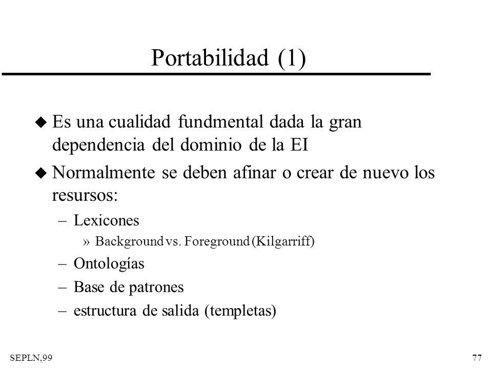 SEPLN,9977 Portabilidad (1) u Es una cualidad fundmental dada la gran dependencia del dominio de la EI u Normalmente se deben afinar o crear de nuevo