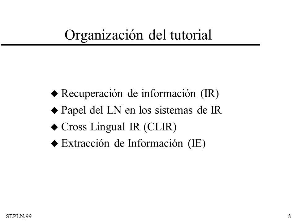 SEPLN,998 Organización del tutorial u Recuperación de información (IR) u Papel del LN en los sistemas de IR u Cross Lingual IR (CLIR) u Extracción de