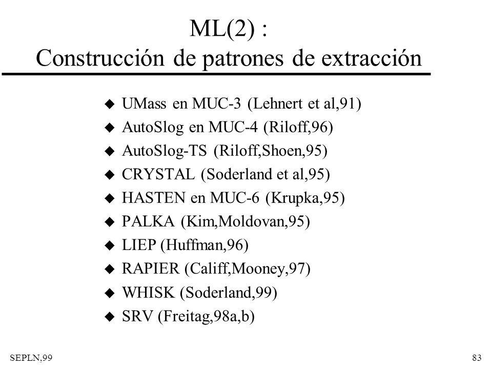 SEPLN,9983 ML(2) : Construcción de patrones de extracción u UMass en MUC-3 (Lehnert et al,91) u AutoSlog en MUC-4 (Riloff,96) u AutoSlog-TS (Riloff,Sh
