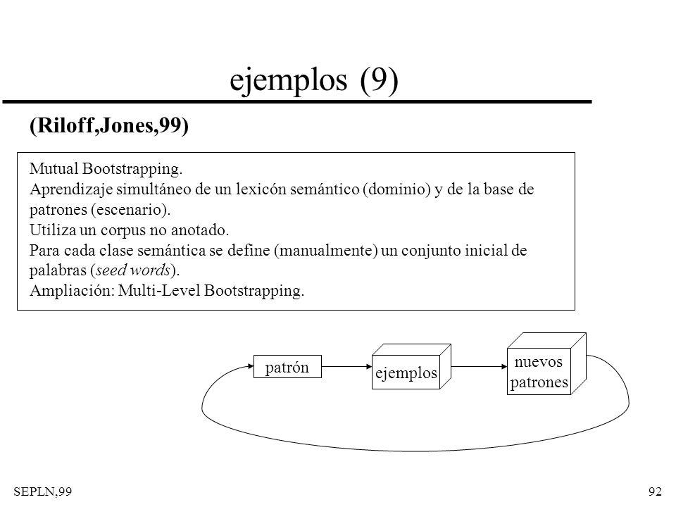 SEPLN,9992 ejemplos (9) (Riloff,Jones,99) Mutual Bootstrapping. Aprendizaje simultáneo de un lexicón semántico (dominio) y de la base de patrones (esc