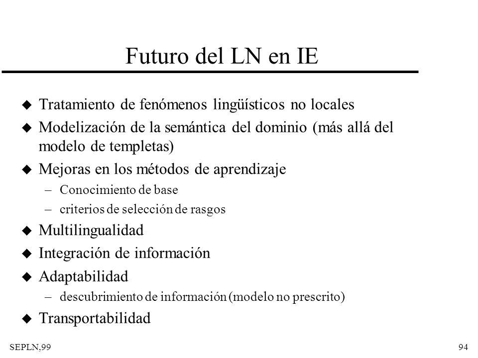 SEPLN,9994 Futuro del LN en IE u Tratamiento de fenómenos lingüísticos no locales u Modelización de la semántica del dominio (más allá del modelo de t