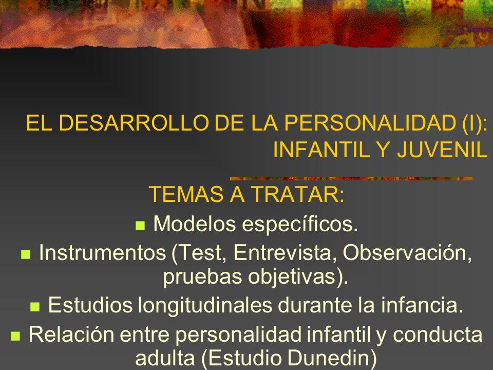 EL DESARROLLO DE LA PERSONALIDAD (I): INFANTIL Y JUVENIL TEMAS A TRATAR: Modelos específicos.