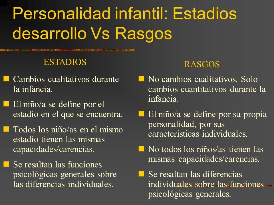 Personalidad infantil: Estadios desarrollo Vs Rasgos Cambios cualitativos durante la infancia.