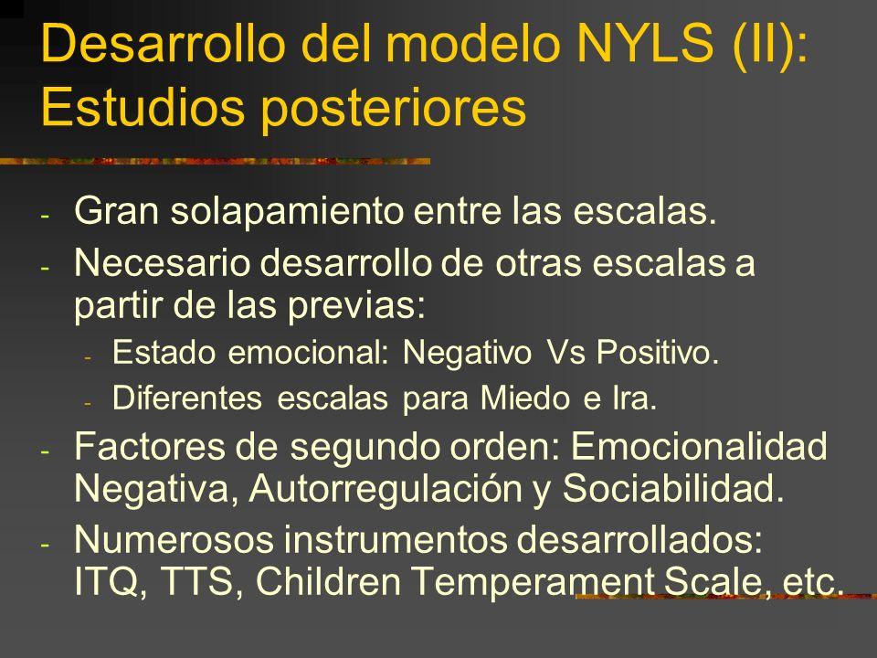 Desarrollo del modelo NYLS (II): Estudios posteriores - Gran solapamiento entre las escalas.