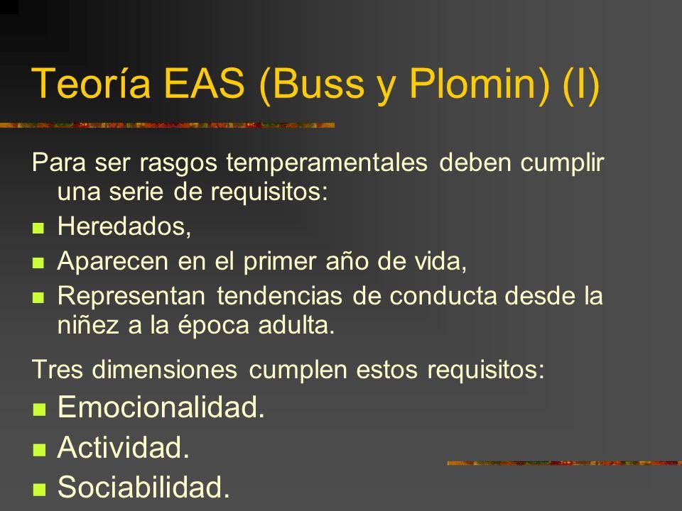 Teoría EAS (Buss y Plomin) (I) Para ser rasgos temperamentales deben cumplir una serie de requisitos: Heredados, Aparecen en el primer año de vida, Representan tendencias de conducta desde la niñez a la época adulta.