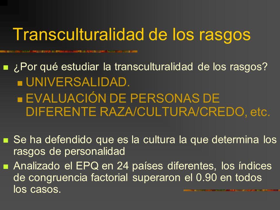 Transculturalidad de los rasgos ¿Por qué estudiar la transculturalidad de los rasgos? UNIVERSALIDAD. EVALUACIÓN DE PERSONAS DE DIFERENTE RAZA/CULTURA/
