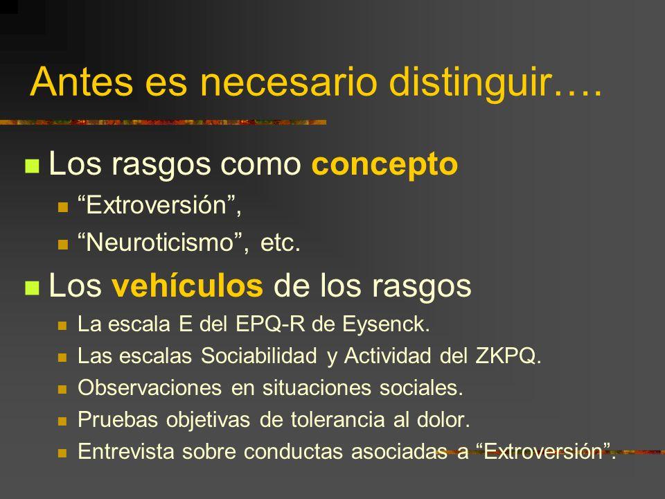 Antes es necesario distinguir…. Los rasgos como concepto Extroversión, Neuroticismo, etc. Los vehículos de los rasgos La escala E del EPQ-R de Eysenck