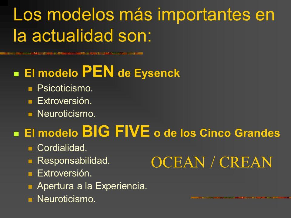 Los modelos más importantes en la actualidad son: El modelo PEN de Eysenck Psicoticismo. Extroversión. Neuroticismo. El modelo BIG FIVE o de los Cinco