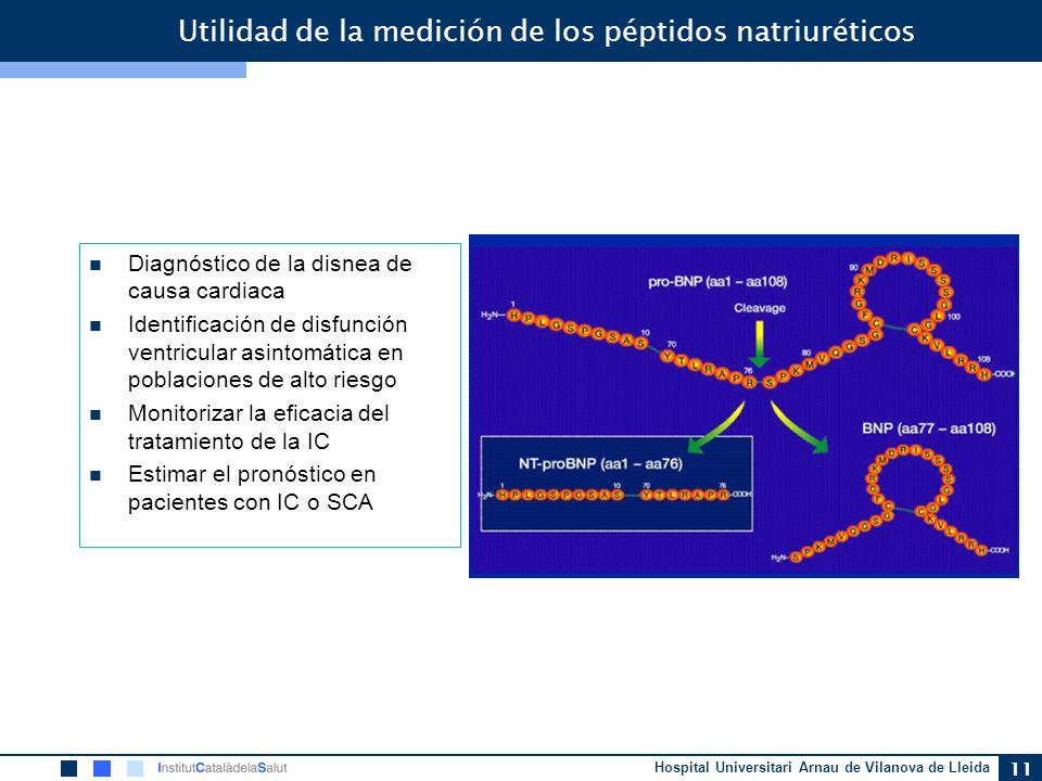 Hospital Universitari Arnau de Vilanova de Lleida 11 Utilidad de la medición de los péptidos natriuréticos Diagnóstico de la disnea de causa cardiaca