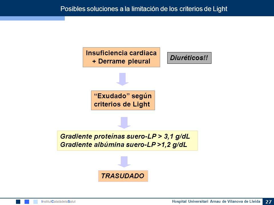 Hospital Universitari Arnau de Vilanova de Lleida 27 Posibles soluciones a la limitación de los criterios de Light Insuficiencia cardiaca + Derrame pl