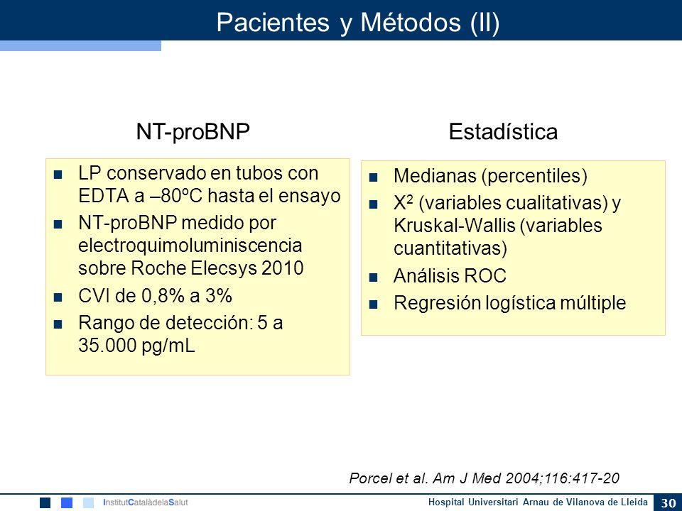 Hospital Universitari Arnau de Vilanova de Lleida 30 Pacientes y Métodos (II) LP conservado en tubos con EDTA a –80ºC hasta el ensayo NT-proBNP medido