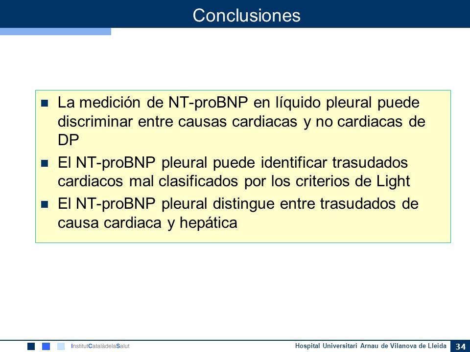 Hospital Universitari Arnau de Vilanova de Lleida 34 Conclusiones La medición de NT-proBNP en líquido pleural puede discriminar entre causas cardiacas