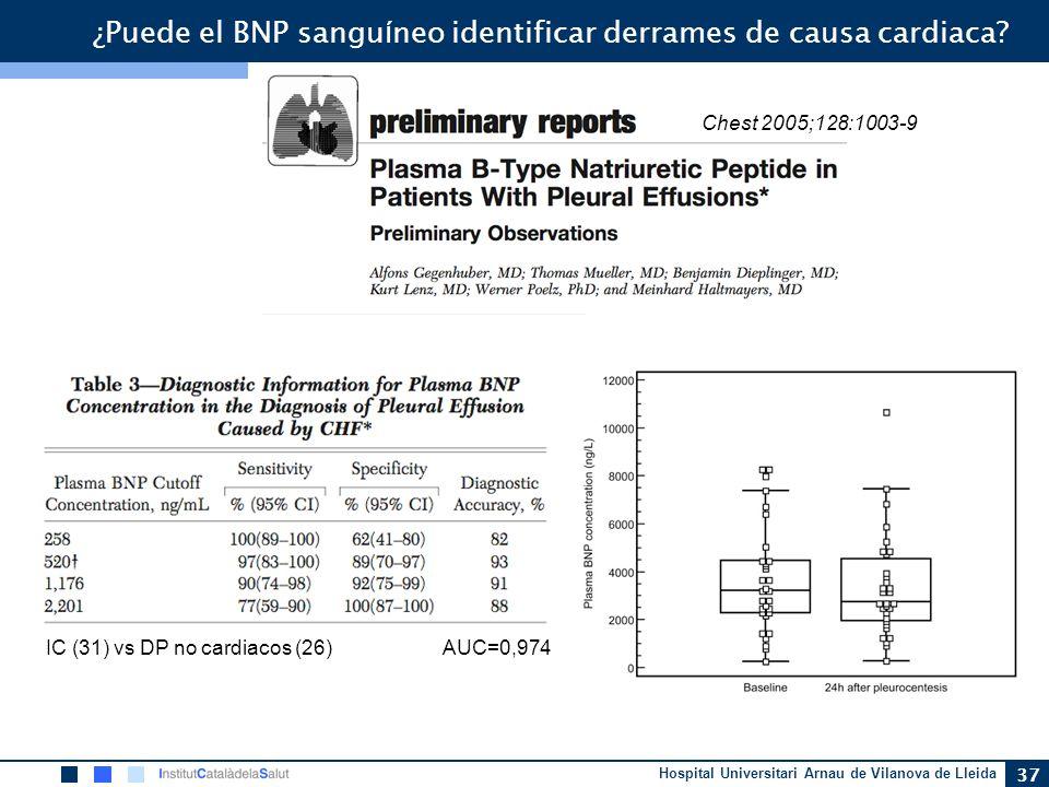 Hospital Universitari Arnau de Vilanova de Lleida 37 ¿Puede el BNP sangu í neo identificar derrames de causa cardiaca? Chest 2005;128:1003-9 IC (31) v