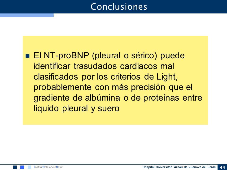 Hospital Universitari Arnau de Vilanova de Lleida 44 Conclusiones El NT-proBNP (pleural o sérico) puede identificar trasudados cardiacos mal clasifica