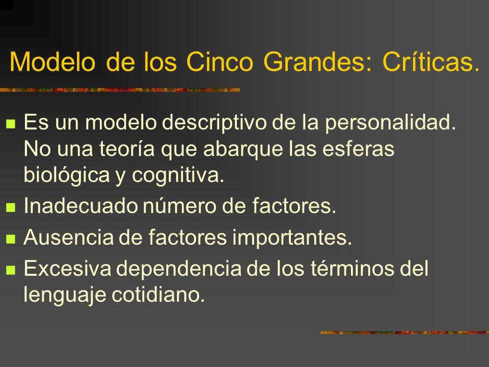 Modelo de los Cinco Grandes: Críticas. Es un modelo descriptivo de la personalidad. No una teoría que abarque las esferas biológica y cognitiva. Inade