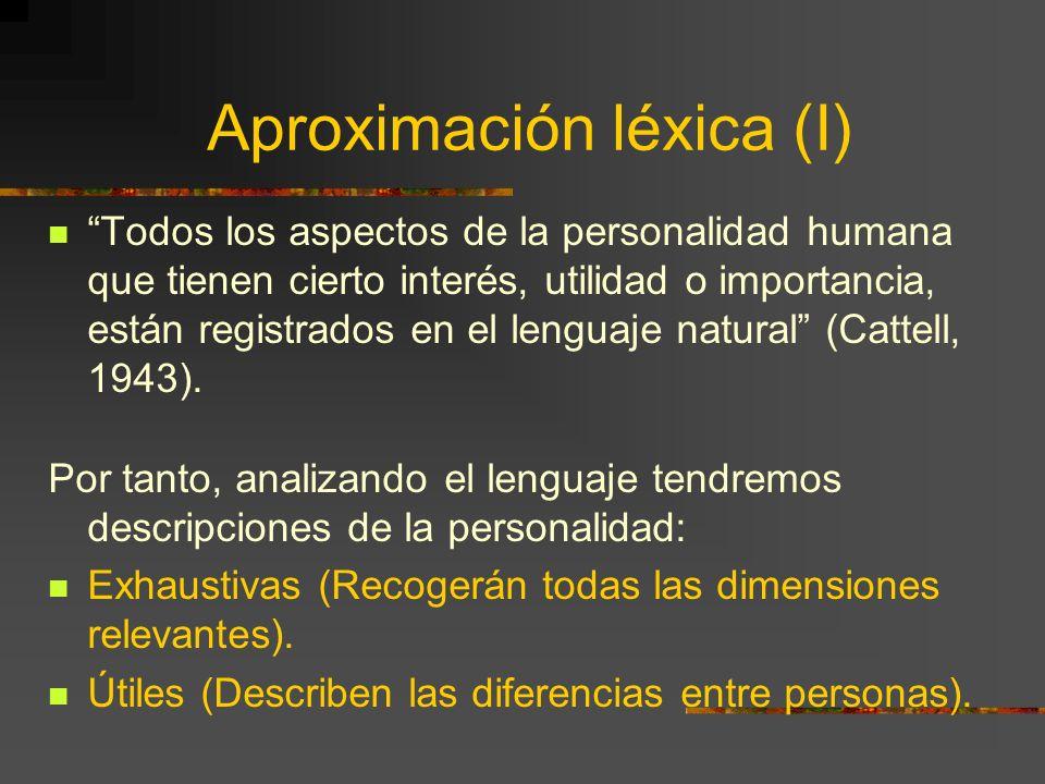 Aproximación léxica (I) Todos los aspectos de la personalidad humana que tienen cierto interés, utilidad o importancia, están registrados en el lengua