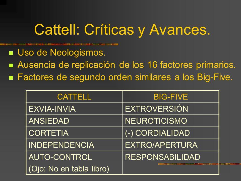 Cattell: Críticas y Avances. Uso de Neologismos. Ausencia de replicación de los 16 factores primarios. Factores de segundo orden similares a los Big-F