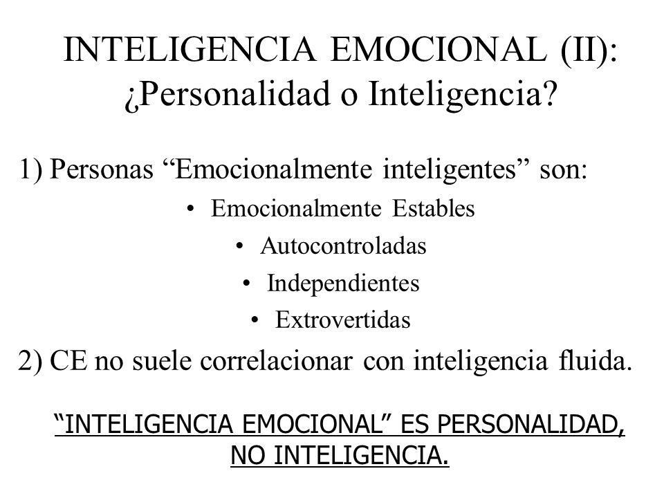 INTELIGENCIA EMOCIONAL (I): RELACIONES CON RASGOS DE PERSONALIDAD R 2 corr = 0.734 (p=.000) Independen = 0.619 Est.Emoc/AnsExtrover = 0.234 Autocontro