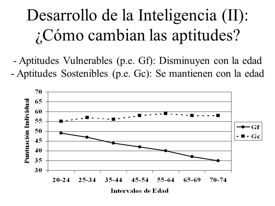 Desarrollo de la Inteligencia (I): Tipos de Aptitudes Aquellas que parecen depender más del equipamiento biológico de las personas (Por ejemplo: g, In