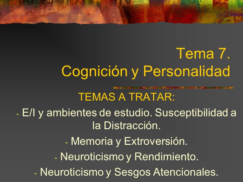Tema 7.Cognición y Personalidad TEMAS A TRATAR: - E/I y ambientes de estudio.