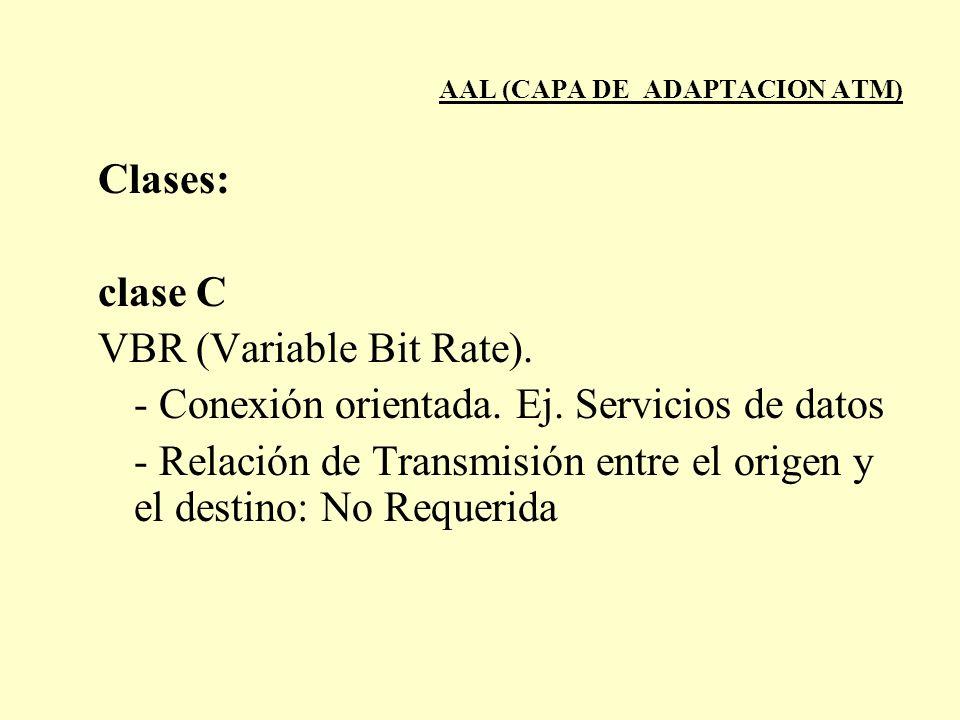 AAL (CAPA DE ADAPTACION ATM) Clases: clase C VBR (Variable Bit Rate). - Conexión orientada. Ej. Servicios de datos - Relación de Transmisión entre el