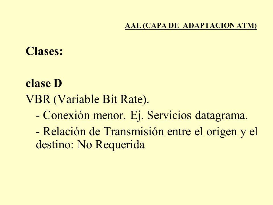 AAL (CAPA DE ADAPTACION ATM) Clases: clase D VBR (Variable Bit Rate). - Conexión menor. Ej. Servicios datagrama. - Relación de Transmisión entre el or
