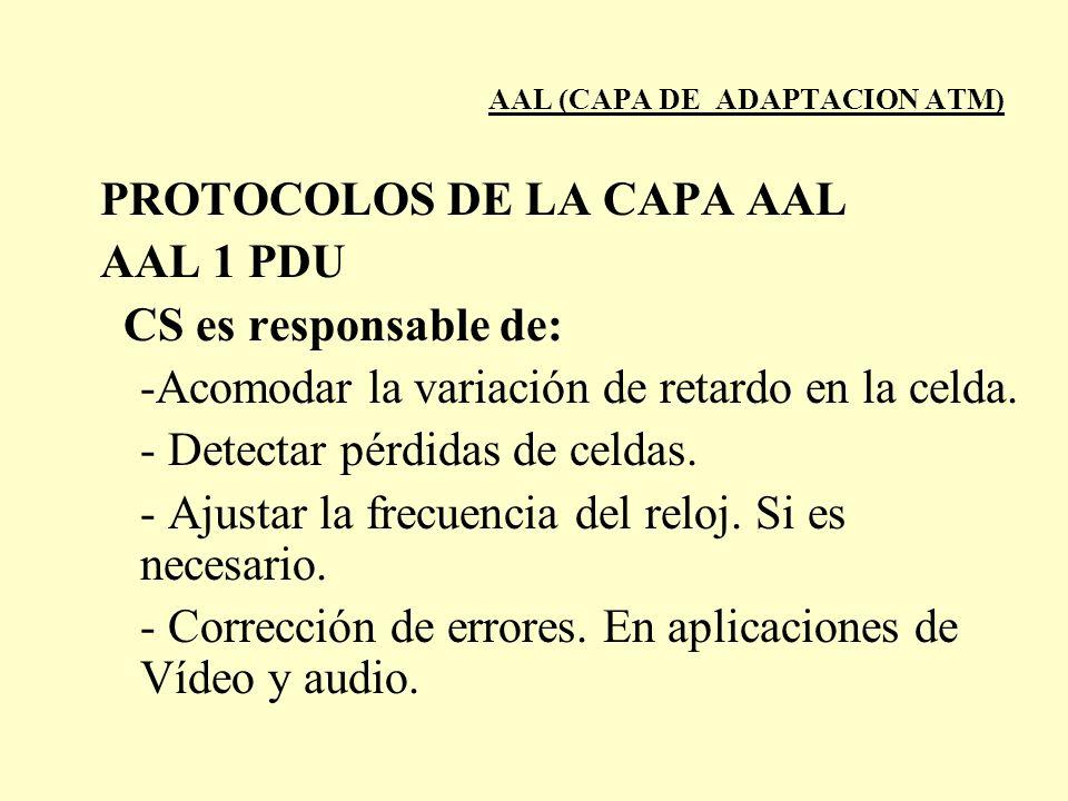 AAL (CAPA DE ADAPTACION ATM) PROTOCOLOS DE LA CAPA AAL AAL 1 PDU CS es responsable de: -Acomodar la variación de retardo en la celda. - Detectar pérdi