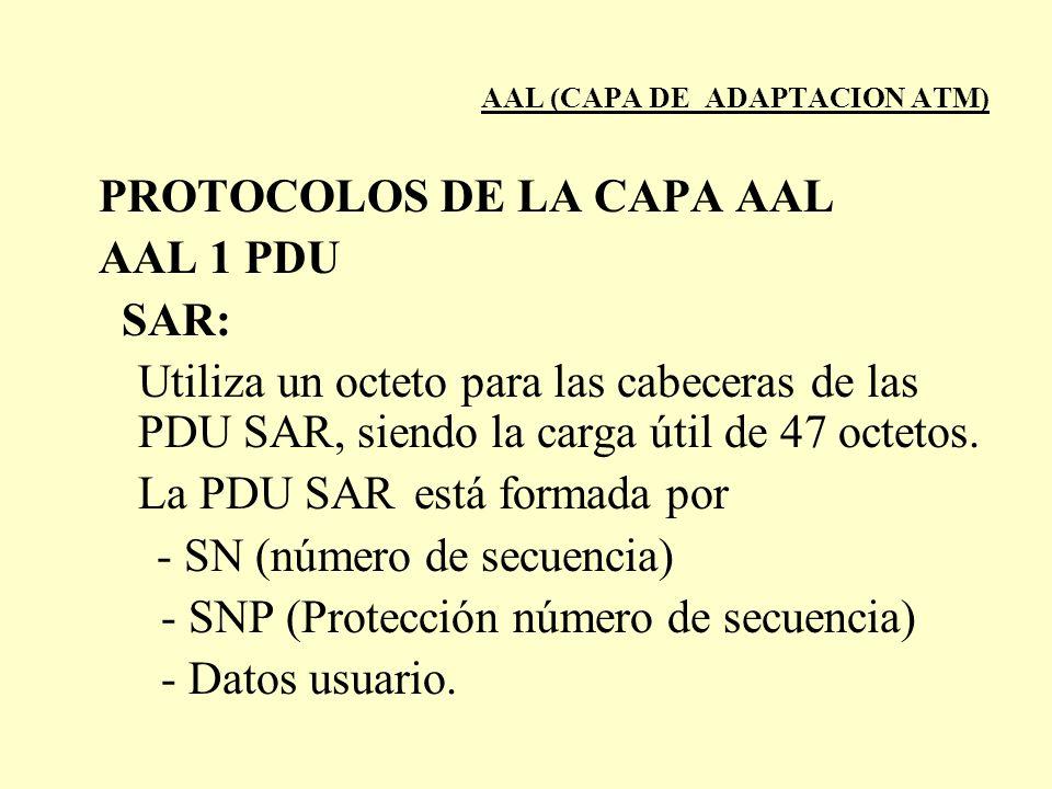 AAL (CAPA DE ADAPTACION ATM) PROTOCOLOS DE LA CAPA AAL AAL 1 PDU SAR: Utiliza un octeto para las cabeceras de las PDU SAR, siendo la carga útil de 47